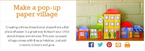 Pop- up paper village from kidspot.com.au