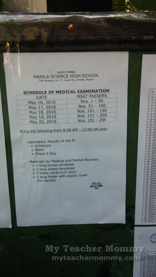 Manila Science High School Entrance Exams 2016 Results