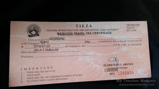 reduced travel tax certificate from TIEZA