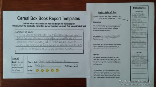 Cereal Box Book Report Samples