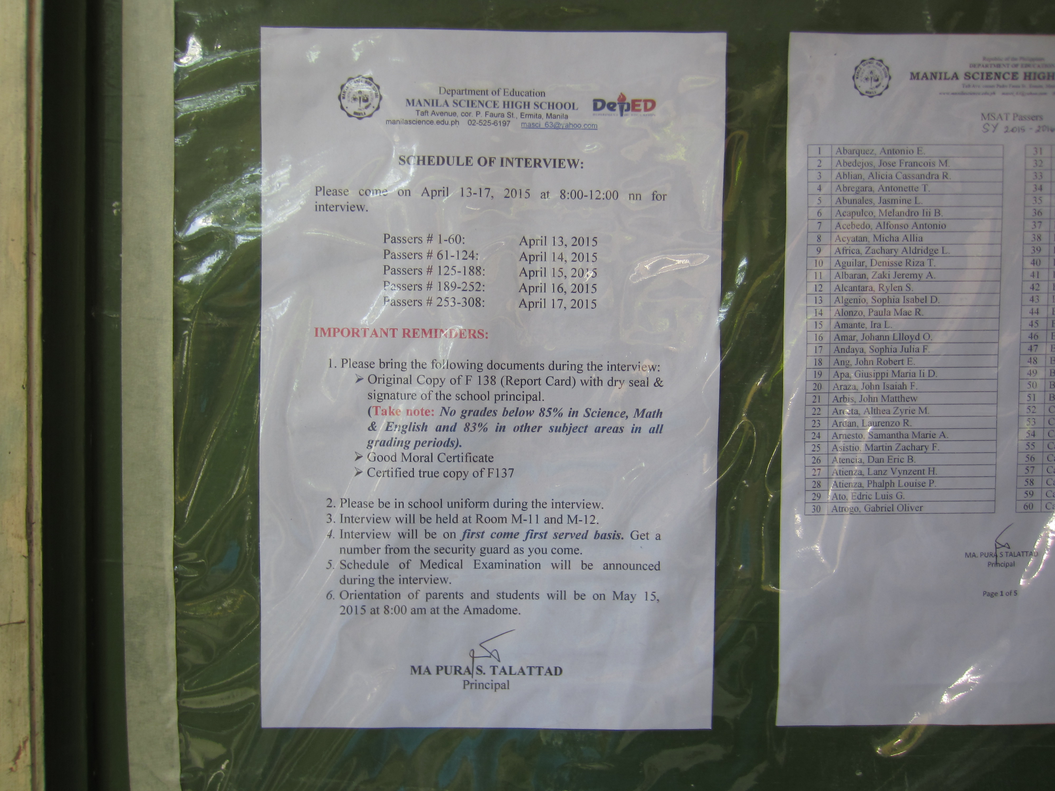 Manila Science High School Admission Test 2015 results