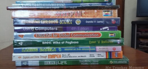 Grade 4 textbooks by a homeschooler in the Philippines